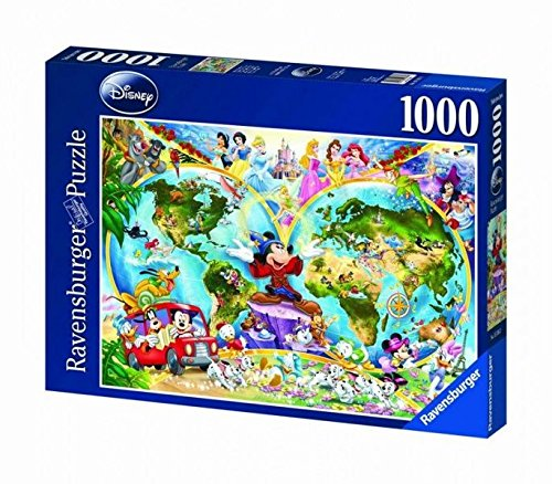 Disney World Map 1000 Piece Jigsaw Puzzle Featuring the entire Disney Family: Disney Princess, Donald Duck, Mickey Mouse, Peter Pan and many more! (Donald Duck Puzzles 1000 Piece compare prices)