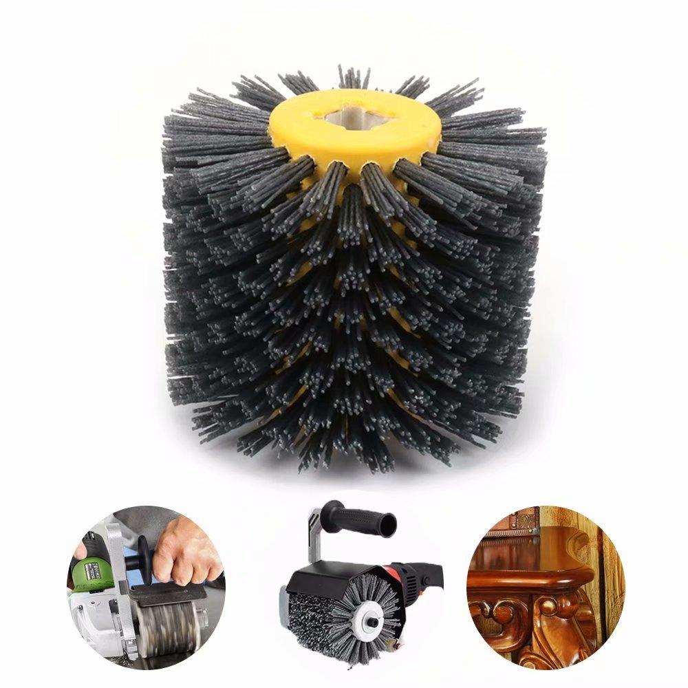 5 Inch Abrasive Nylon Wire Drawing Wheel Drum Burnishing Brush for Wooden Polishing 120mm 80 Grit