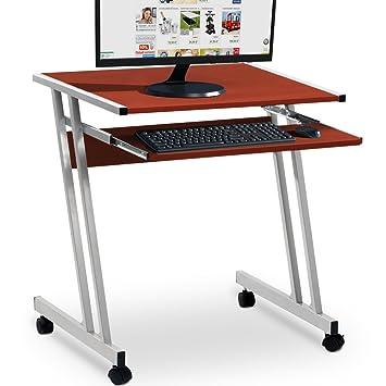 Mesa de ordenador con bandeja para teclado   62 cm x 48 cm x 73 cm   color marrón  : Amazon.es: Hogar