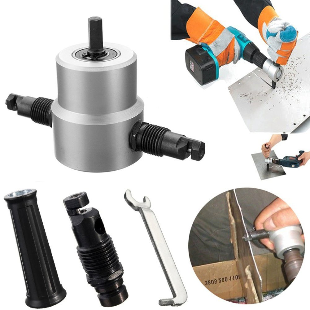DIY Collections Double Head Sheet Nibbler Metal Cutter Hole Saw Drill Attachment, Fitted with Any Electic Drill or Power Drill with 3000RPM