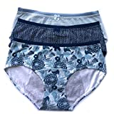 Natratouch 3 Pack Assorted Blue Mixed Color Cotton Brief Menstrual Period Panty, Light Incontinence Panty, Absorbent Cotton Panty (Medium)