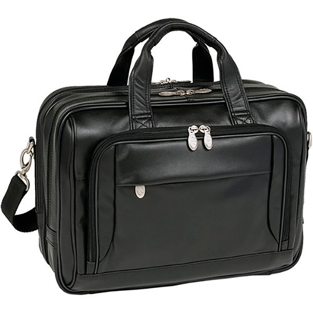 Mcklein USA West Loop [Personalized Initials Embossing] 15.6'' Leather Expandable Double Compartment Briefcase in Black