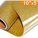 Glitter Heat Transfer Vinyl HTV for T-Shirts 10Inches by 5 Feet Rolls(Gold)