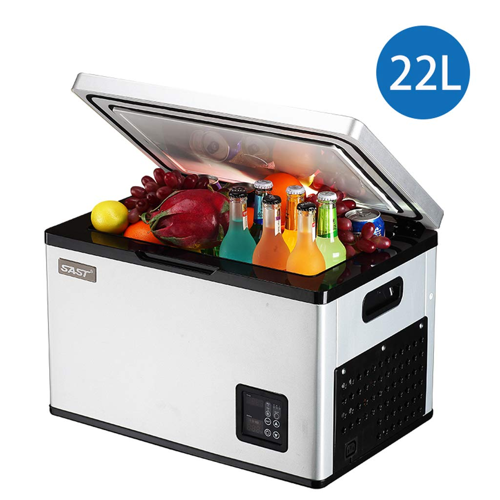 Lxn Portable Car and Home use Silver Compressor Fridge,Mini Freezer for Driving, Travel, Fishing, Outdoor and Home use - 12V/24V(DC) and 110V-220V(AC)
