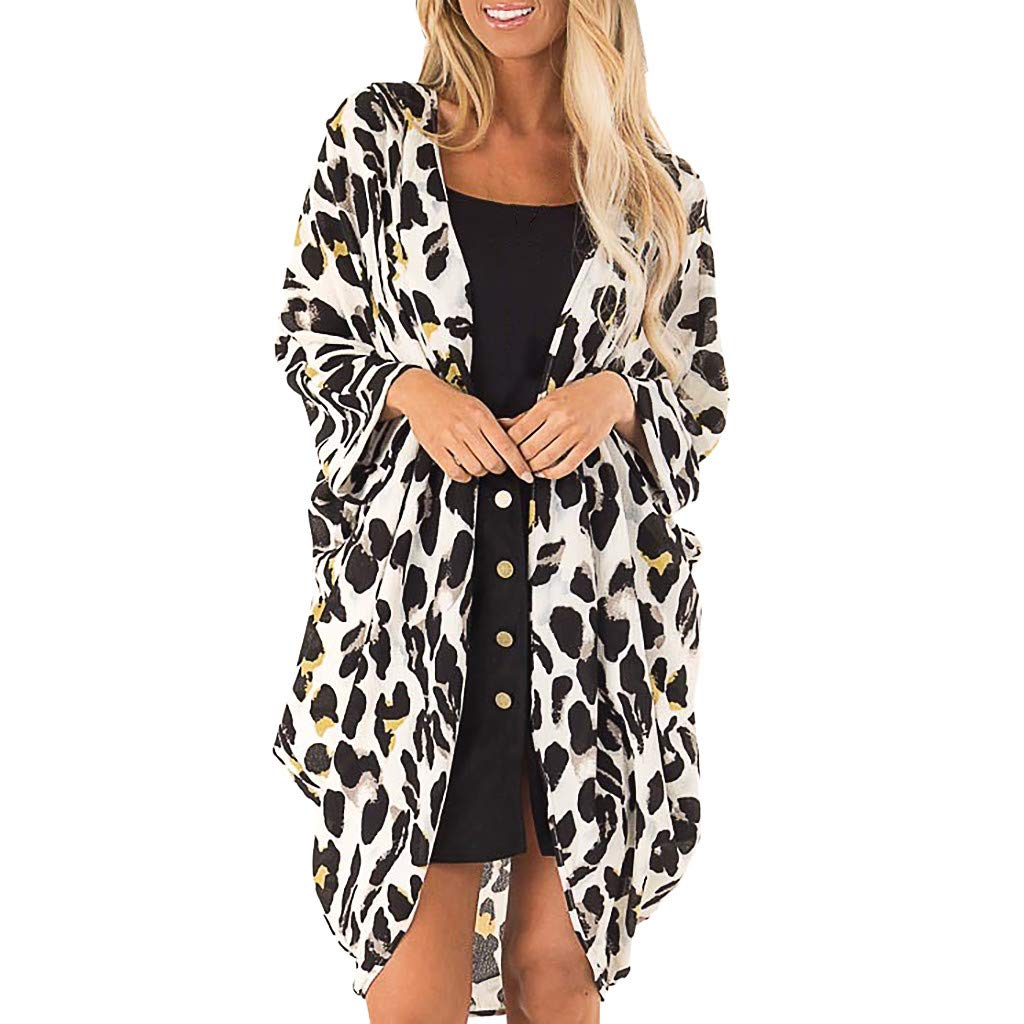 WUAI Womens Leopard Print Long Sleeves Fluffy Soft Open Front Cardigans Beach Cover Up(White,Small)