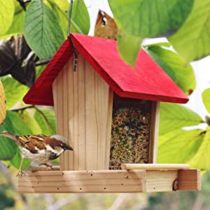 Birdhouses GONAJaula de anidación de la casa del pájaro o Exterior Madera Colgante pájaro Hotel Caja de Nido Alto-Perico, comedero ecológico Sparrows: Amazon.es: Jardín