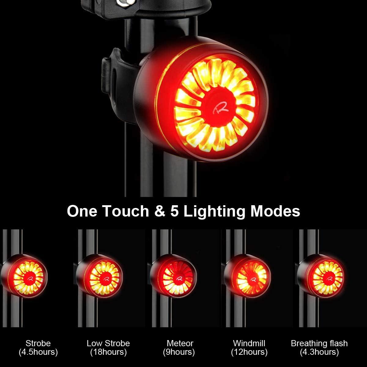 5 Modes d/éclairage Rouge Haute intensit/é v/élo feu arri/ère Casque /étanche Sac /à Dos LED Lampe Frein Intelligent v/élo feu arri/ère USB Rechargeable Ryaco v/élo feu arri/ère