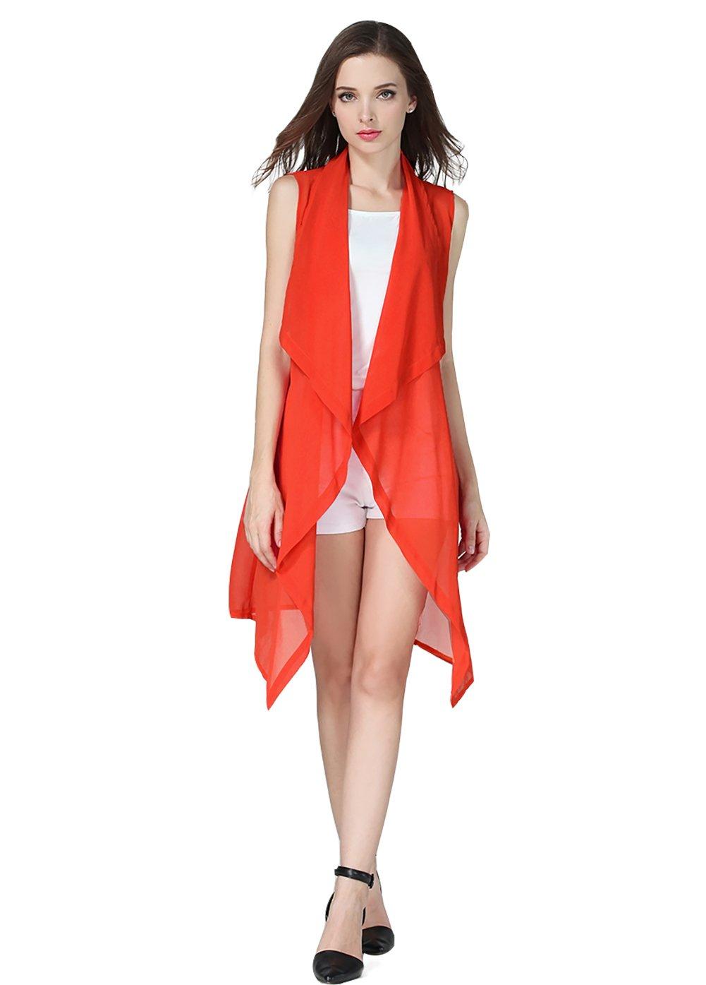 Eleter Women's Summer Lapel Sleeveless Long Waistcoat Blazer Jacket Vest Cardigan (X-Large, Orange)