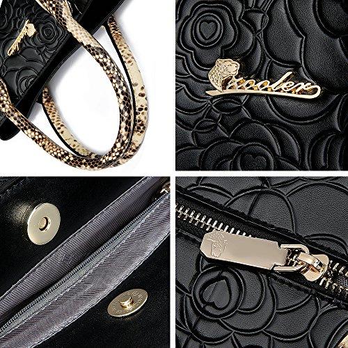 Handbags Top Black Bags Roses Crossbody Handle Zooler Leather Bag Embossed Womens 6Eq1Z6wF