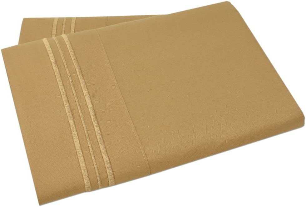 Brushed Microfiber Bedding Gold, Set of 2 Standard Size Pillow Cases Mezzati Luxury Two Pillow Cases Soft and Comfortable 1800 Prestige Collection