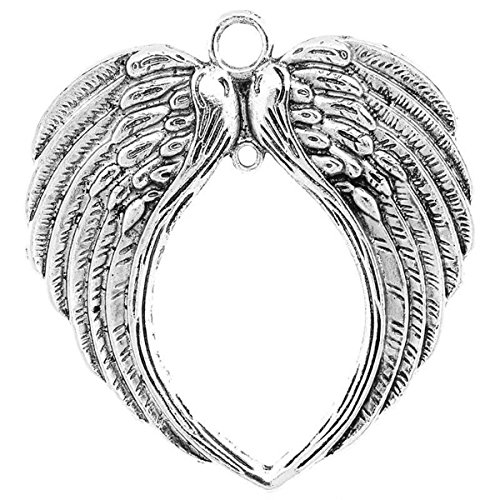 Housweety 3 PCs Charm Connectors Hollow Wing Silver Tone 7.1cmx6.7cm(2 6/8