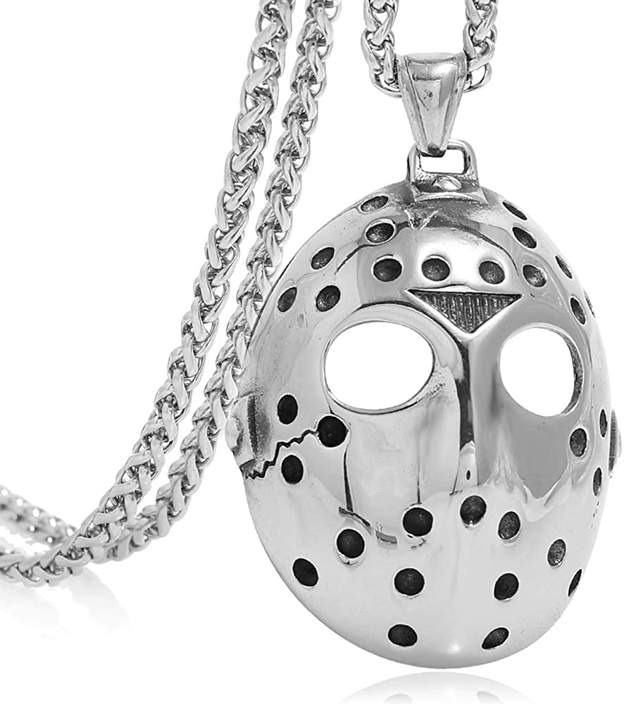 FIZIZDH Men's Stainless Steel Jason's Mask Hollow Openwork Pendant Necklace, 24 inch Keel Link Chain