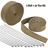 Foneso 2'' x 50' Titanium Exhaust Heat Wrap Roll for Motorcycle Fiberglass Heat Shield Tape with Stainless Ties (2 Roll + 24 Ties Kit)