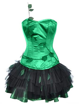 00e489f9e27 Charmian Women s Burlesque Poison Ivy Costume Halloween Costume Corset with Skirt  Green Small