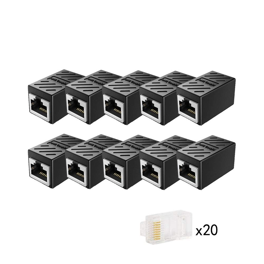 CAIVOV RJ45 Coupler,Ethernet Adapter,Ethernet Cable Extender Adapter for Cat7 Cat6 Cat5e Cat5, LAN Connector in Line Coupler Female to Female (Black) (10Pack) by CAIVOV