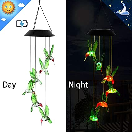 Color Changing LED Solar Powered Hummingbird Wind Chime Light Yard Garden Deco