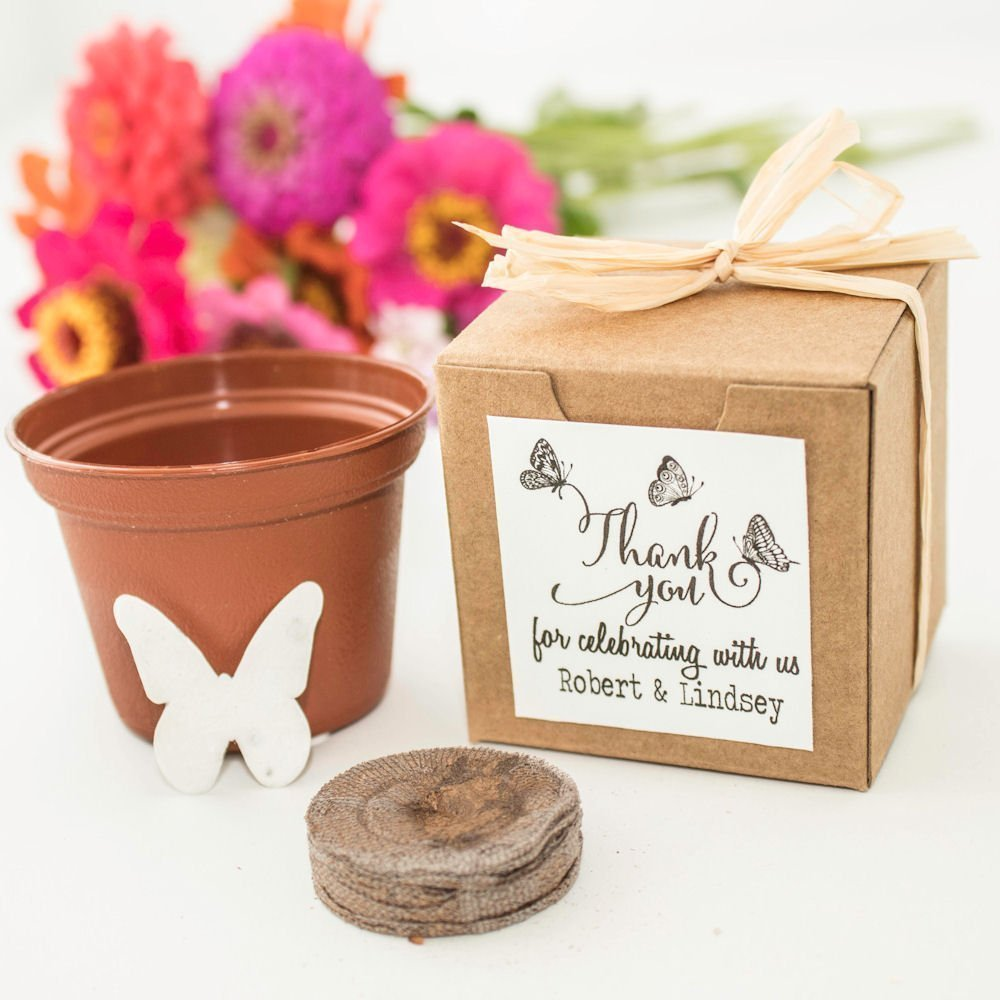Personalized Butterfly Themed Wedding & Party Favors - Mini Seed Paper Butterfly Garden Gifts (Set of 12)