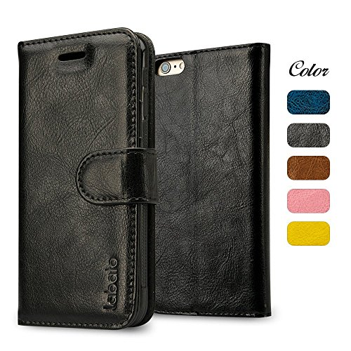 (iPhone 6S Case, Labato 6S Magnetic Leather Wallet Stand Case Folio Smart Cover Flip Protective Case for Apple iPhone 6S iPhone 6 Black Lbt-I6S-07Z10)