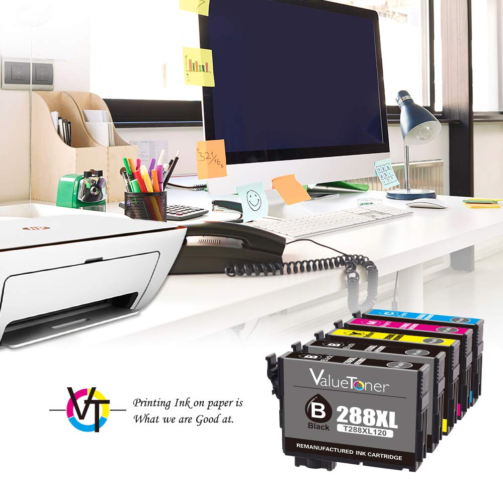 Valuetoner T288XL Replacement for Epson 288XL 288 XL Remanufactured Ink Cartridge for Epson Expression XP-340 XP-440 XP-330 XP-430 XP-434 XP-446 Printer(2 Black, 1 Cyan, 1 Magenta, 1 Yellow) by Valuetoner (Image #3)
