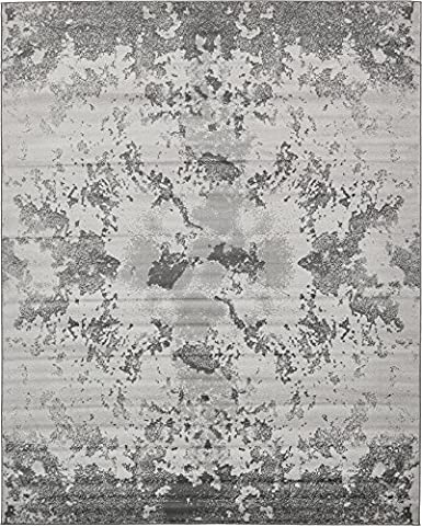 Modern Abstract 8 feet by 10 feet (8' x 10') Metro Light Gray Contemporary Area Rug