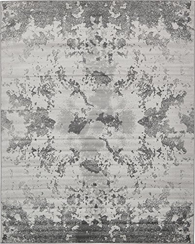 Artist Studio Collection Rug - Unique Loom Metro Collection Abstract Stone Dark Colors Light Gray Area Rug (8' 0 x 10' 0)
