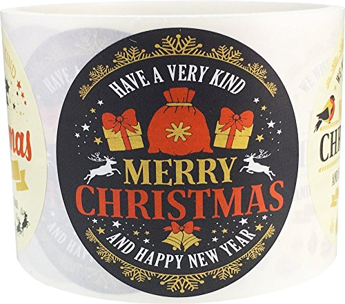 Merry Christmas Happy New Year Stickers 2.5 Inch