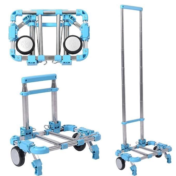 Carretilla de Mano Plegable 2 Ruedas de Aluminio y Plástico Camión de Mano Portátil Carga hasta 30kg Azul: Amazon.es: Industria, empresas y ciencia