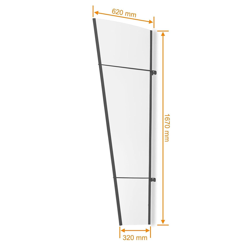 Schulte Seitenteil 167x62 cm Haust/ür f/ür Vordach Stahl anthrazit rostfrei /Überdachung Seitenblende Seitenelement Acrylglas klar LT-Line