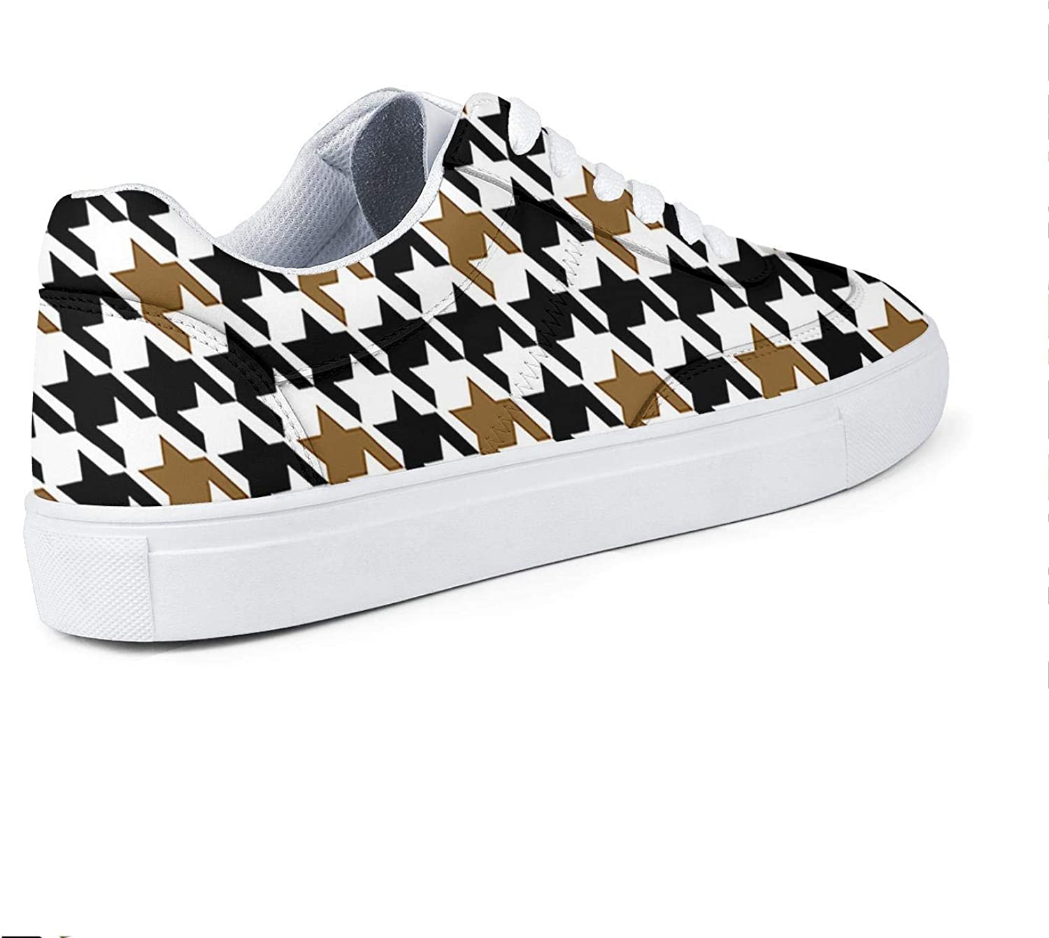 PROGIFToO Womans Colorful Houndstooth Checkerboard PU Leather Sneakers Lace Up Fashion Low Top Casual Running Shoes