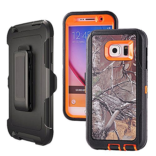 Galaxy S6,Harsel Heavy Duty Shockproof 3-layer Military Outdoor Sport Rubber Camouflage Wood Design Defender Case Cover with Belt Clip Built-in Screen Protector for Samsung galaxy S6 (Xtra-Orange)