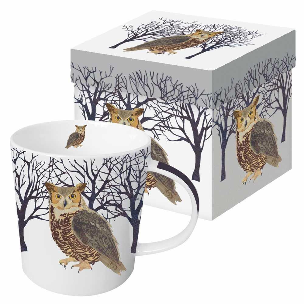 Paperproducts Design Gift Boxed Porcelain Mug, 13.5 oz, Winter Woods Owl, Multicolor