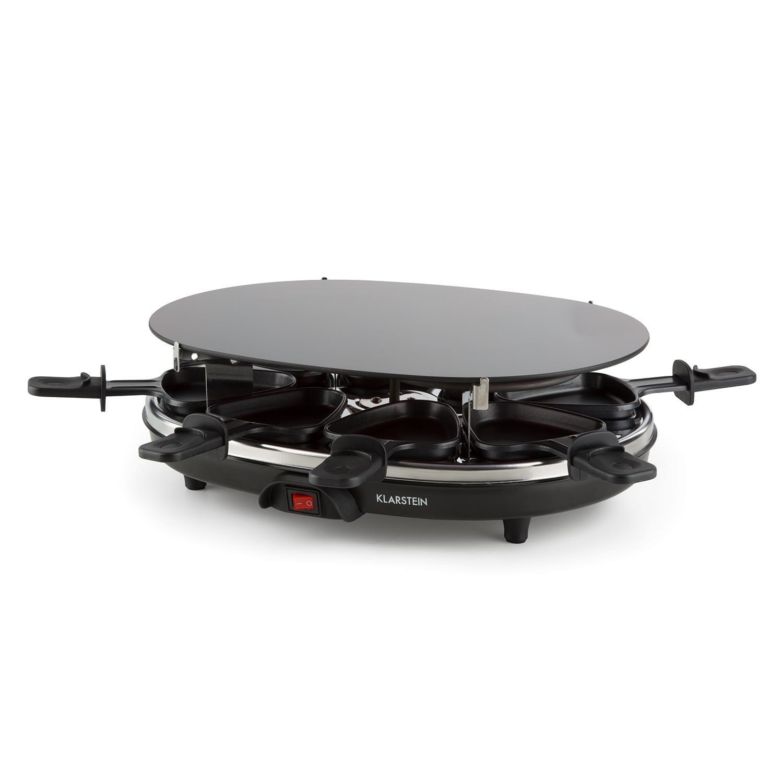 nero Klarstein Blackjack 2-in-1 griglia elettrica 900 Watt di potenza, pentolini da raclette, piastra in vetroceramica, cucina sana e senza grassi