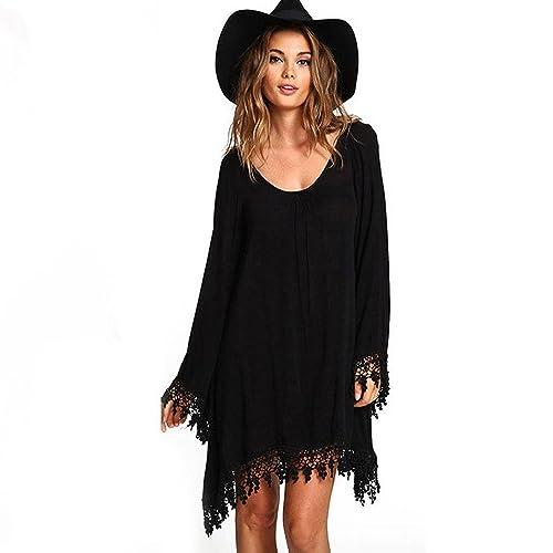 Donne Vestiti Manica lunga Nappe Sciolto Loose Abito Donna mini Black Lace Dress