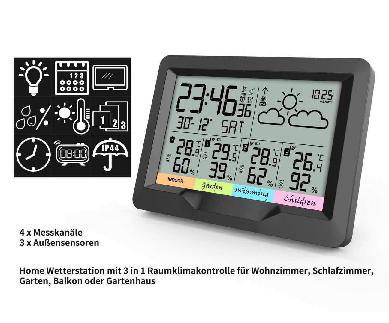 sensori Esterni Oule GmbH Misura Temperatura Interna ed Esterna e umidit/à dellAria igrometro termometro Stazione meteorologica Radio con 3 sensori Esterni