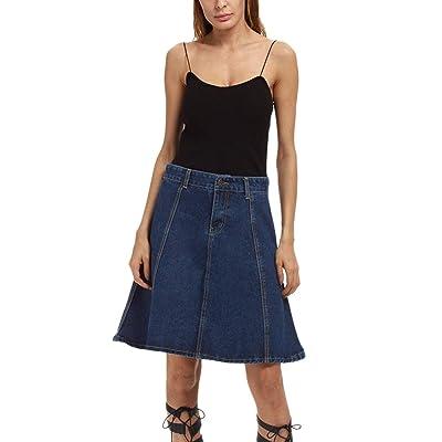 La Mujer Faldas De Verano Casual Jeans De Cintura Alta Falda De Mezclilla Talla Grande: Ropa y accesorios