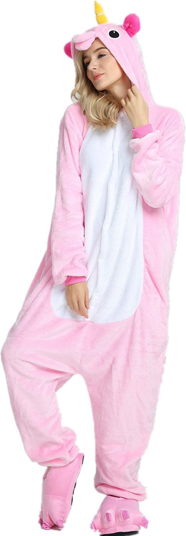 compatibles con adultos y festivales de Navidad Rosa X-Large for 178-195CM Pantuflas de peluche blandas dise/ño de unicornio Kenmont