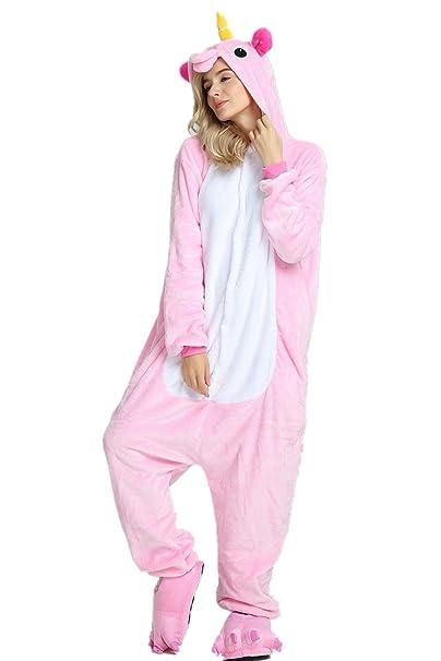 Disfraz de unicornio adulto arcoíris para mujer chicas Pijama de Navidad animal Navidad (Pink,