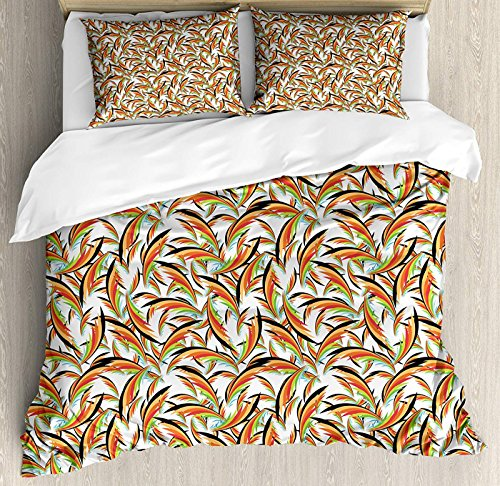 (Tropical Twin Size Duvet Cover Set, Exotic Hawaiian Foliage Leaves Jungle Caribbean Vibes Havana Style Illustration Floral Duvet Cover and Pillow Shams Bed Set, Multicolor)