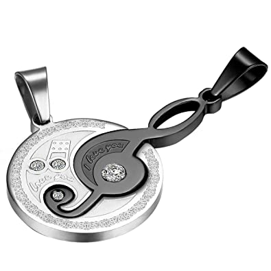 7ba403e42a Image Unavailable. Image not available for. Color: Cupimatch 2-Piece  Stainless Steel Rhinestone Music Note Puzzle Matching Pendant Couple  Necklace ...