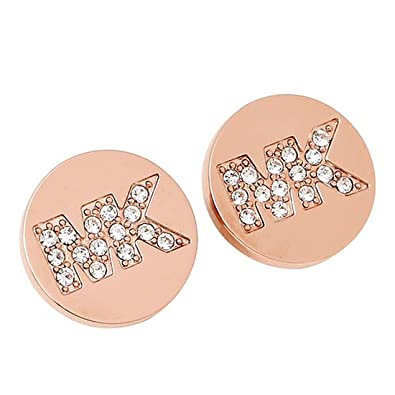 4eea9183dccb3f Amazon.com: Michael Kors Rose Gold Pave MK Logo Stud Earrings: Jewelry
