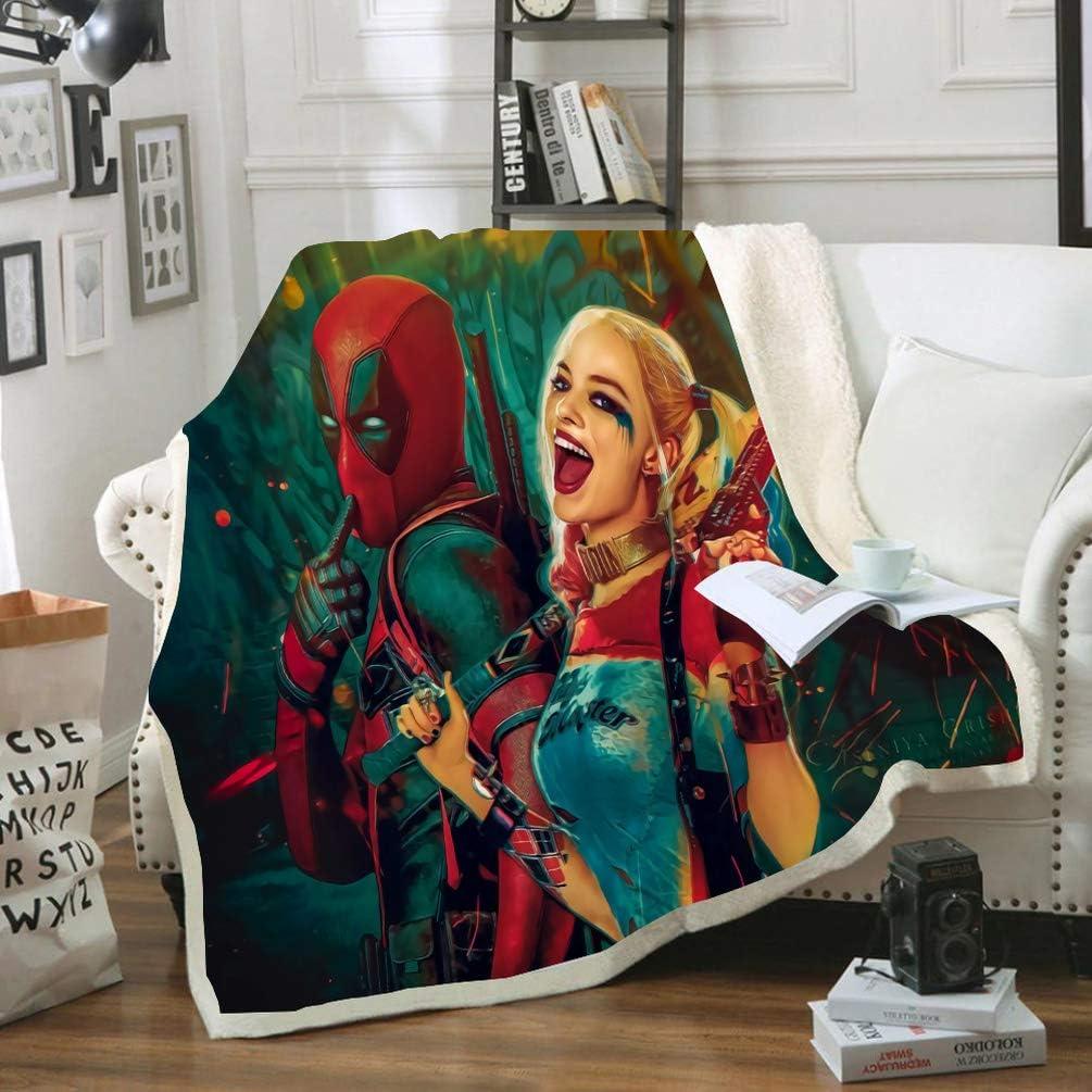Microfibre Plaid Polaire Impression Num/érique 3D Super Douce Enfants Flanelle Couverture DFTY Marvel Deadpool Tough Guy Micro Couvre-lit Motif Couverture 10,100cm*140cm
