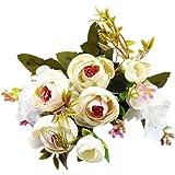 Saingace 5 Forks Flower Heads Artificial Silk Flowers Bouquet (White)