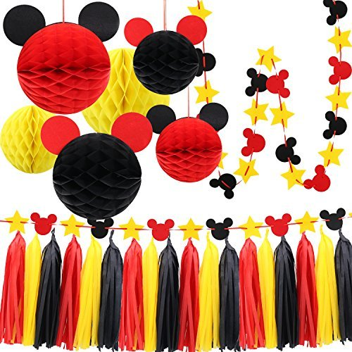 Mickey Mouse Party Decoration Kit, Colourful Mickey Paper Honeycomb Balls, Red Yellow and Black Tassel Garland Tissue Felt Banner Kids Birthday Themed Party Ideas ()