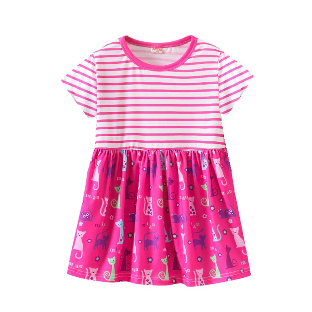 2019 New! Baby Girls Dress,Toddler Infant Kids Cute Striped Cartoon Floral Pattern Princess Dresses Outfits Purple