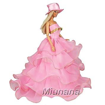 Amazon.es: Miunana 1 Vestido de noche Princesa Ropa Vestir Fiesta +1 Sombrero Accesorios como Regalo para Muñeca Barbie Doll: Juguetes y juegos