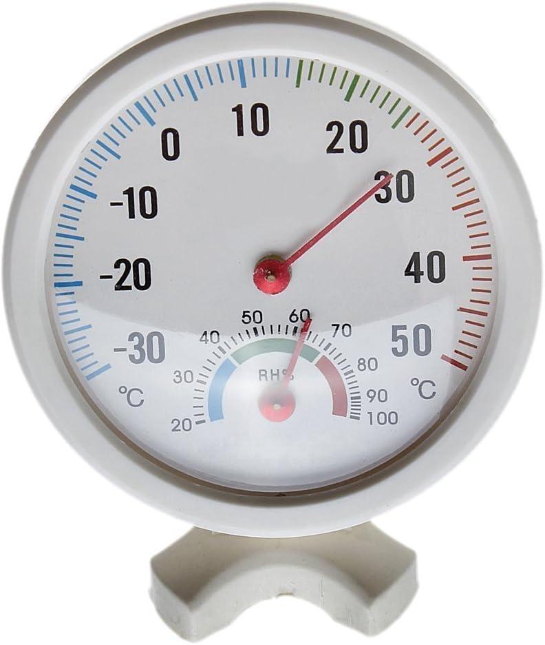 Thermometer Hygrometer Nadel rundes Zifferblatt PRueFER innen aussen weiss V6K6