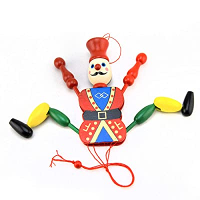 YTGOOD Medium Size Soldier Strings Puppet Kids' Wood Cartoon Clown Doll: Toys & Games