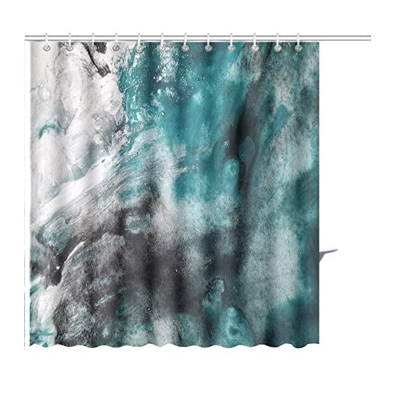 Shower Curtain abstract background watercolor background abstract oil on abstract watercolor art hand Art Print Polyester Fabric Bathroom Decor Sets with Hooks 72 x 72 Inches, Green - 100% Polyester Fabric No Liner Needed Eye-catching pattern adds a distinctive look to your bathroom Bold graphics printed with state of the art digital printing technology - shower-curtains, bathroom-linens, bathroom - 61DJtJATd7L. SS570  -