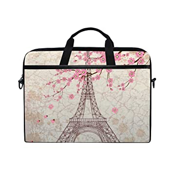 d41f09db93bc Amazon.com: TropicalLife Laptop Bag Pink Cherry Blossom Paris Eiffel ...
