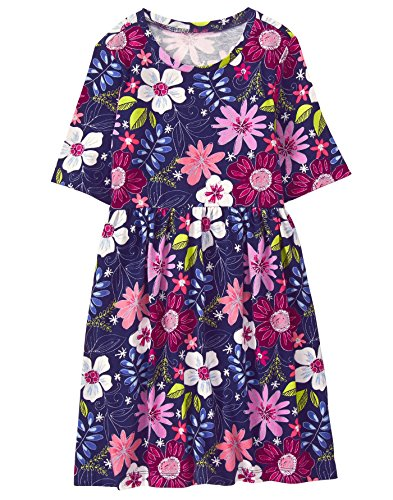 (Gymboree Girls' Little Easy Printed Dress, Navy Floral,)